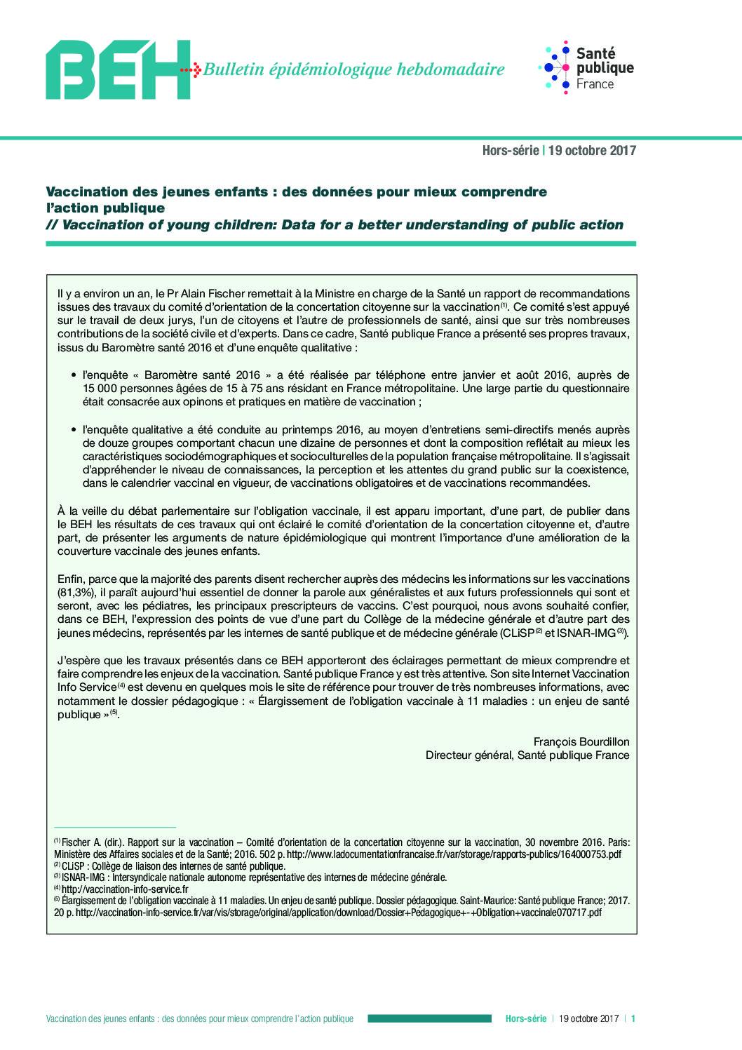 Obligation vaccinale : résultats d'une étude qualitative sur les connaissances et perceptions de la population générale en France.